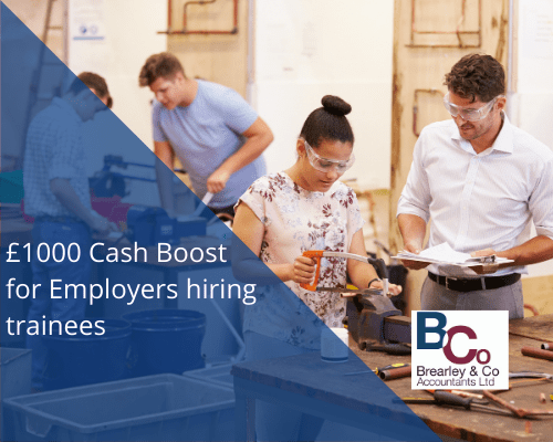 £1000 Cash Boost for Employers hiring trainees