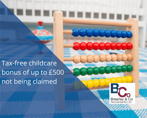 Tax-free childcare bonus of up to £500 not being claimed